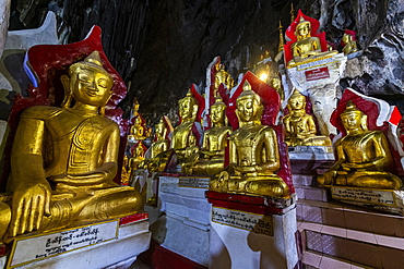Gilded Buddha images in the caves at Pindaya, Shan state, Myanmar (Burma), Asia