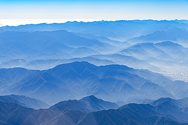 Aerial of the central mountain range, Taiwan, Asia