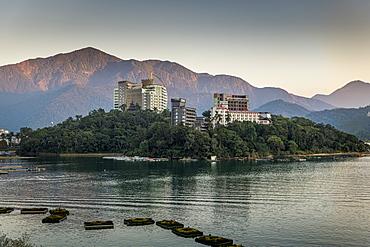 Sunrise over Sun Moon Lake, National Scenic Area, Nantou county, Taiwan, Asia