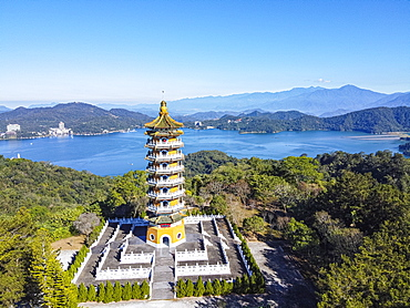 Aerial by drone over the Ci'en Pagoda and Sun Moon Lake, National Scenic Area, Nantou county, Taiwan, Asia