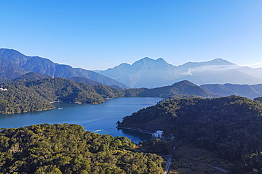 Aerial by drone over Sun Moon Lake, National Scenic Area, Nantou county, Taiwan, Asia