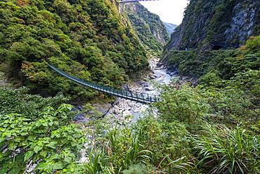 Hanging bridge in the Taroko Gorge, Taroko National Park, Hualien county, Taiwan, Asia