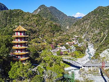 Aerial of Tianfeng Pagoda and Tianxiang recreational area, Taroko National Park, Hualien county, Taiwan, Asia