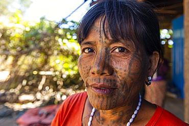 Chin woman with spiderweb tattoo, Mindat, Chin state, Myanmar (Burma), Asia
