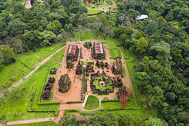 Aerial of the Hindu temples in My Son, UNESCO World Heritage Site, Vietnam, Indochina, Southeast Asia, Asia