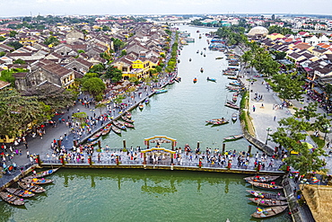 Aerial of the Historic district of the old town of Hoi An, UNESCO World Heritage Site, Vietnam, Indochina, Southeast Asia, Asia