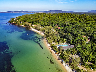 Aerial of the clear waters of Ong Lang beach, island of Phu Quoc, Vietnam, Indochina, Southeast Asia, Asia