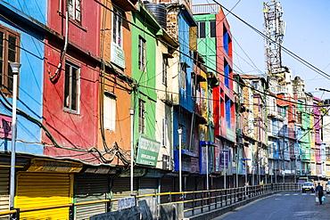 Colourful houses in Aizawl, Mizoram, India, Asia