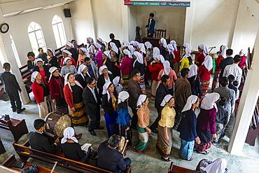 Sunday church service in Lungleng, Mizoram, India, Asia