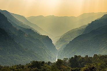 Gorge in the Reiek mountains, Mizoram, India, Asia