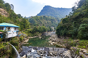 River gorge in the valley of the Reiek mountains, Mizoram, India, Asia