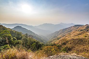 View over the Reiek mountains, Mizoram, India, Asia