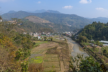 Village in the mountains of Manipur, India, Asia