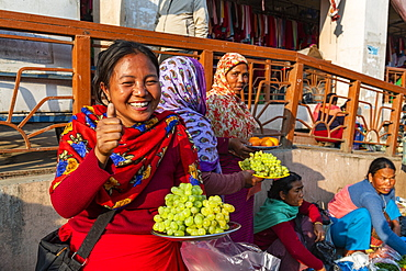 Women vendors selling grapes, Ima Keithel women's market, Imphal, Manipur, India, Asia