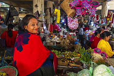 Woman vendor selling colourful dolls, Ima Keithel women's market, Imphal, Manipur, India, Asia