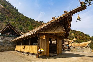 Traditional build huts, Naga heritage village of Kisama, Nagaland, India