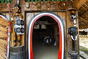 Traditional artist woodwork in the Naga heritage village of Kisama, Nagaland, India, Asia