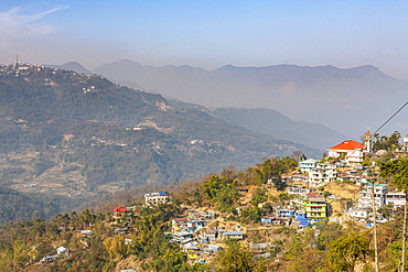 Houses perched on the hills, Kohima, Nagaland, India, Asia
