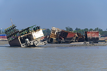 Huge container ships ready to be broken up, Chittagong Ship Breaking Yard, Chittagong, Bangladesh, Asia