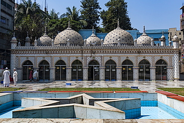 Ornate designs and motif of blue stars, Star Mosque (Tara Masjid), Dhaka, Bangladesh, Asia
