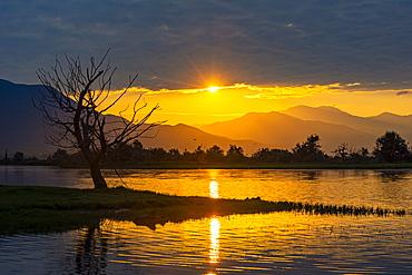Sunrise over the Lake Kerkini, Macedonia, Greece, Europe