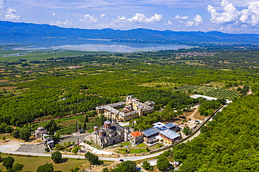 Aerial by drone of a monastery at the Kerkini lake, Macedonia, Greece, Europe