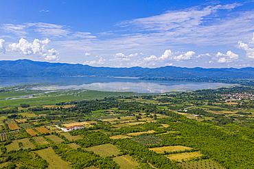 Aerial by drone of the Kerkini lake, Macedonia, Greece, Europe