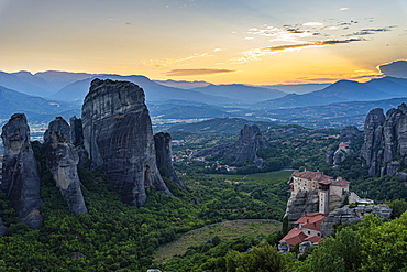 Holy Monastery of St. Nicholas Anapafsas at sunset, UNESCO World Heritage Site, Meteora Monasteries, Greece, Europe