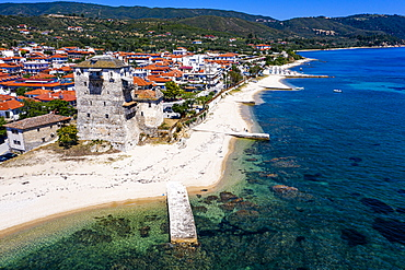 Aerial by drone of the tower of Prosphorion, Ouranopoli, Mount Athos, Central Macedonia, Greece, Europe