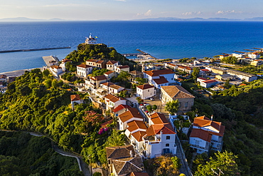 Aerial by drone of Agia Triada church, Paleo Karlovasi, Samos, Greek Islands, Greece, Europe