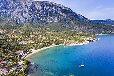 Aerial of Limnionas beach, Samos, Greek Islands, Greece, Europe