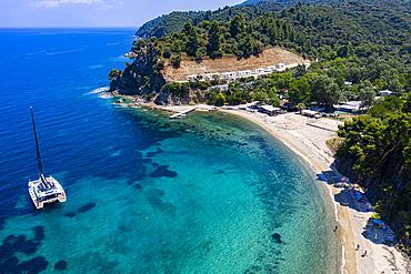 Aerial by drone of Zografou Beach, Sithonia, Greece, Europe