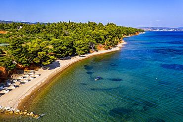 Aerial by drone of Metamorfosi Beach, Sithonia, Chalkidiki, Greece, Europe