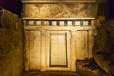 Entrance to the tomb of Philippe II, Aigai, Vergina, UNESCO World Heritage Site, Greece, Europe