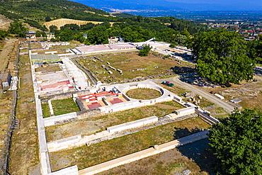Aerial of the palace, Aigai, Vergina, UNESCO World Heritage Site, Greece, Europe