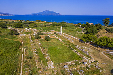 Aerial by drone of the Heraoin of Samos, UNESCO World Heritage Site, Samos, Greek Islands, Greece, Europe
