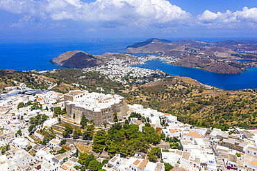 Aerial by drone of the Monastery of Saint John the Theologian, UNESCO World Heritage Site, Chora, Patmos, Dodecanese, Greek Islands, Greece, Europe