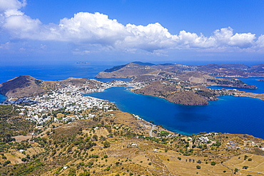 Aerial by drone over Patmos and the town of Skala, Patmos, Dodecanese, Greek Islands, Greece, Europe
