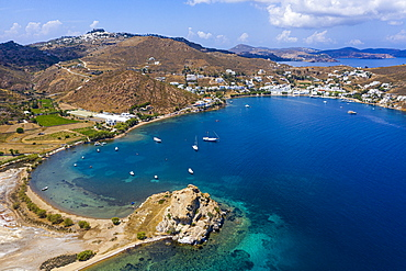Aerial by drone of the bay of Grikos, Patmos, Dodecanese, Greek Islands, Greece, Europe