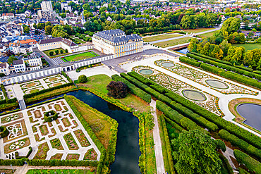 Aerial of Augustusburg Palace, UNESCO World Heritage Site, Bruhl, North Rhine-Westphalia, Germany, Europe