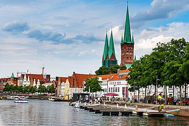 Skyline of Lubeck, UNESCO World Heritage Site, Schleswig-Holstein, Germany, Europe