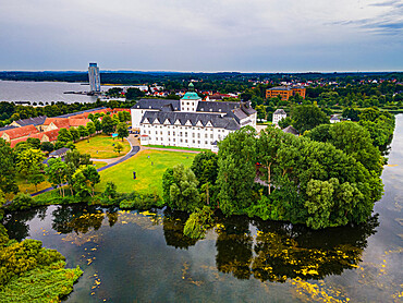 Aerial of Gottorf Castle, Schleswig, Schleswig Holstein, Germany, Europe