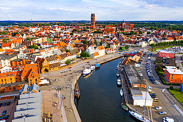 Aerial of the Hanseatic city of Wismar, UNESCO World Heritage Site, Mecklenburg-Vorpommern, Germany, Europe