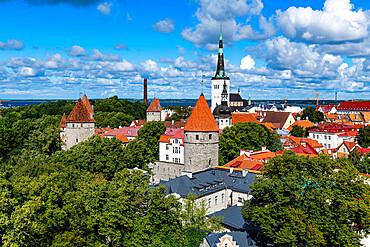 View over the Old Town of Tallinn, UNESCO World Heritage Site, Estonia, Europe
