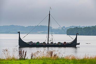 Viking boat on a lake, Unesco world heritage Jelling stones, Jelling Denmark