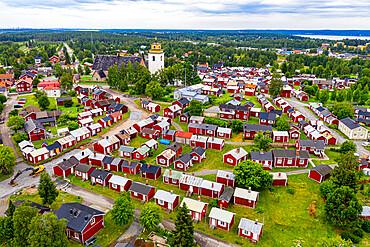 Aerial of Gammelstaden, UNESCO World Heritage Site, Gammelstad Church Town, Lulea, Sweden, Scandinavia, Europe