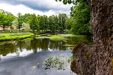 Pond in the Fiskars company town, Raseborg, Finland, Europe