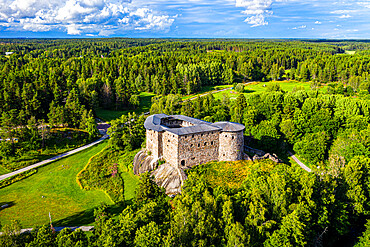 Aerial of Raseburg Castle, southern Finland, Europe