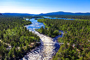 Aerial of Juutuanjoki River, Inari, Finland, Europe