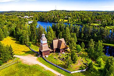 Aerial of Petajavesi Old Church, Petaejeveden (Petajavesi), Finland, Europe